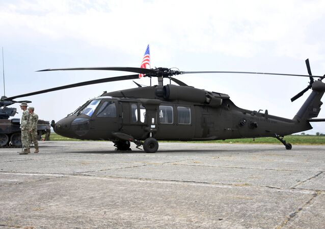 American battle helicopter Sikorsky UH-60 Black Hawk during NATO military drills in Georgia