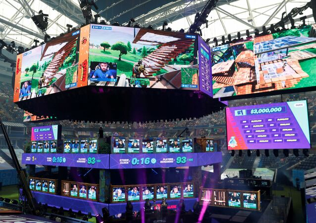 Contestants compete during the Fortnite World Cup Duos Finals at Flushing Meadows Arthur Ashe stadium in the Queens borough of New York, U.S., July 27, 2019.
