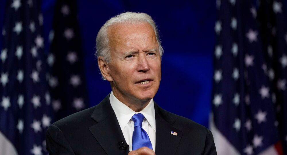 Former U.S. Vice President Joe Biden accepts the 2020 Democratic presidential nomination during a speech delivered for the largely virtual 2020 Democratic National Convention from the Chase Center in Wilmington, Delaware, U.S., August 20, 2020