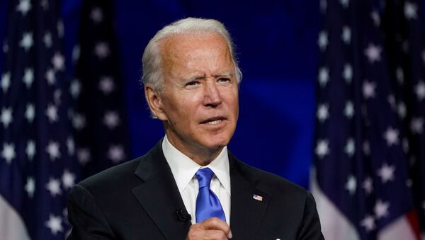 Former U.S. Vice President Joe Biden accepts the 2020 Democratic presidential nomination during a speech delivered for the largely virtual 2020 Democratic National Convention from the Chase Center in Wilmington, Delaware, U.S., August 20, 2020 - Sputnik International