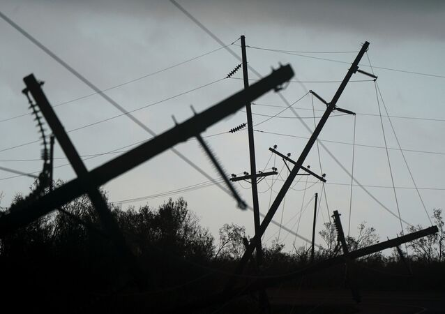 Downed power lines are seen after Hurricane Laura passed through the area in Creole, Louisiana, U.S. August 28, 2020.