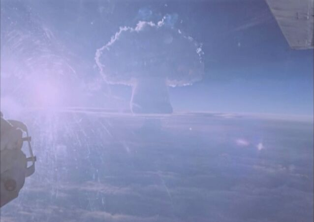 A mushroom cloud is seen rising after the so-called Tsar Bomba was detonated in a test over the remote Novaya Zemlya archipelago in the USSR in this still image from previously classified footage taken in October 1961 and released by Russia's Rosatom state atomic energy corporation.