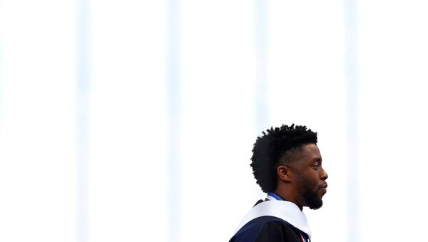 FILE PHOTO: Actor Chadwick Boseman addresses the 150th commencement ceremony at Howard University in Washington, U.S. May 12, 2018. REUTERS/Eric Thayer/File Photo - Sputnik International