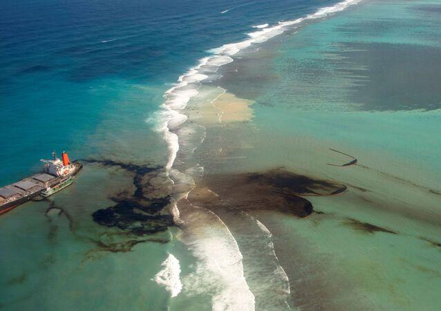Bulk carrier ship MV Wakashio, that ran aground on a reef, at Riviere des Creoles, Mauritius