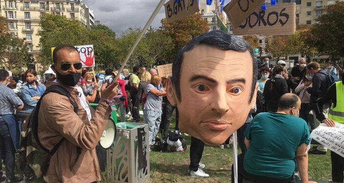 Demonstration against coronavirus curbs and mandatory mask-wearing in Paris, France.