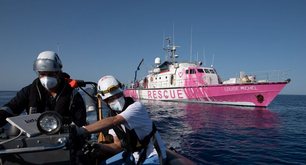 Migrants search and rescue ship operating in the Mediterranean sea and financed by British street artist Banksy