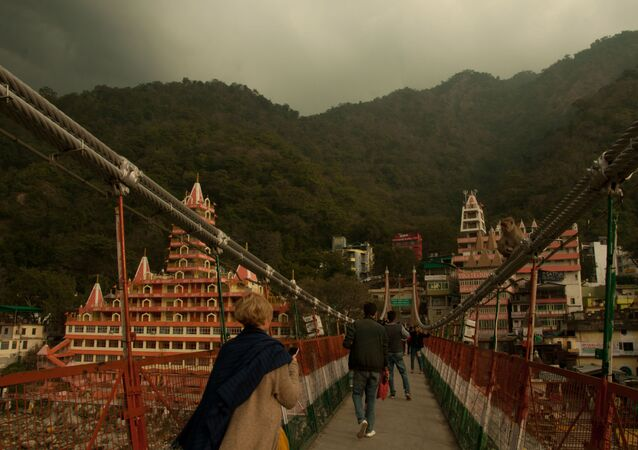 Lakshman Jhula, the famous hanging bridge over Ganges river, in India's Rishikesh town, a major tourist place and pilgrimage centre dedicated to Lord Shiva.