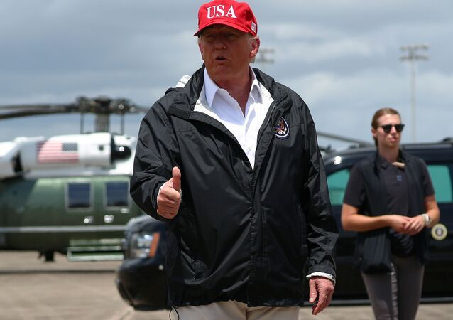 US President Donald Trump arrives at  Chennault International Airport to visit nearby areas damaged by Hurricane Laura in Lake Charles, Louisiana, 29 August 2020