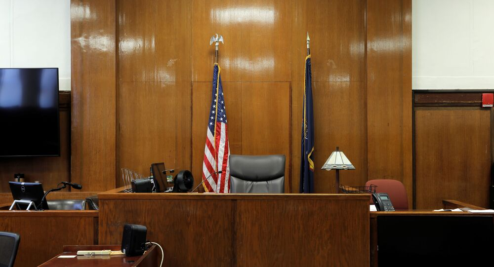 The judge's bench is seen at the New York State Supreme Court in Manhattan, New York City, U.S., August 21, 2020.