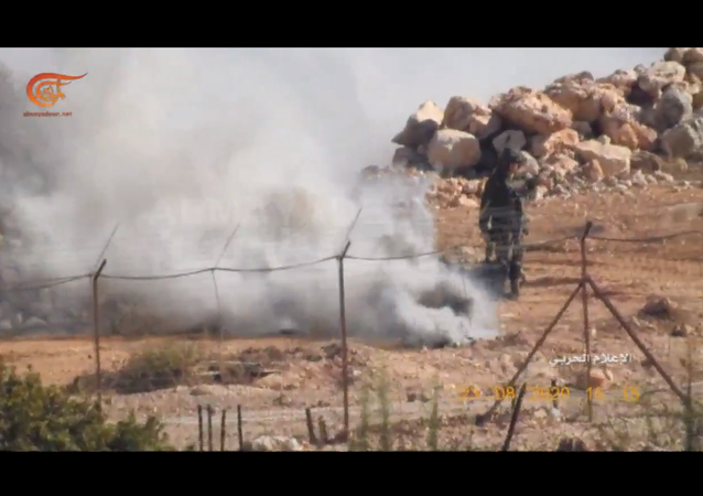 Screenshot of video obtained by Al-Mayadeen showing a mannequin of an IDF soldier on the border between Israel and Lebanon