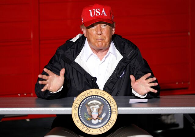 U.S. President Donald Trump gestures during a briefing at Lake Charles Fire House  as he visits nearby areas damaged by Hurricane Laura in Lake Charles, Louisiana, U.S., August 29, 2020.