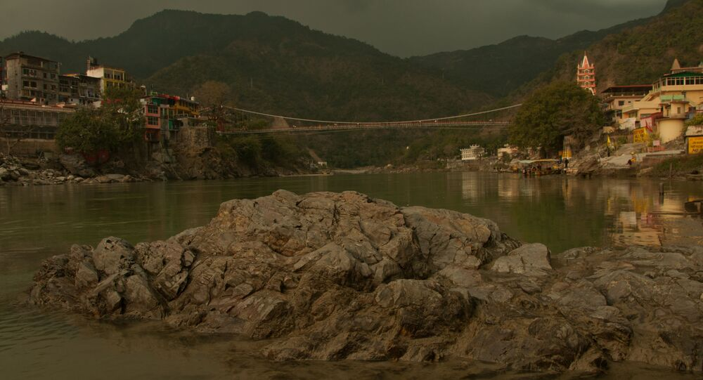 Lakshman Jhula, the famous hanging bridge over Ganges river, in India's Rishikesh town, a major tourist place and pilgrimage centre dedicated to Lord Shiva