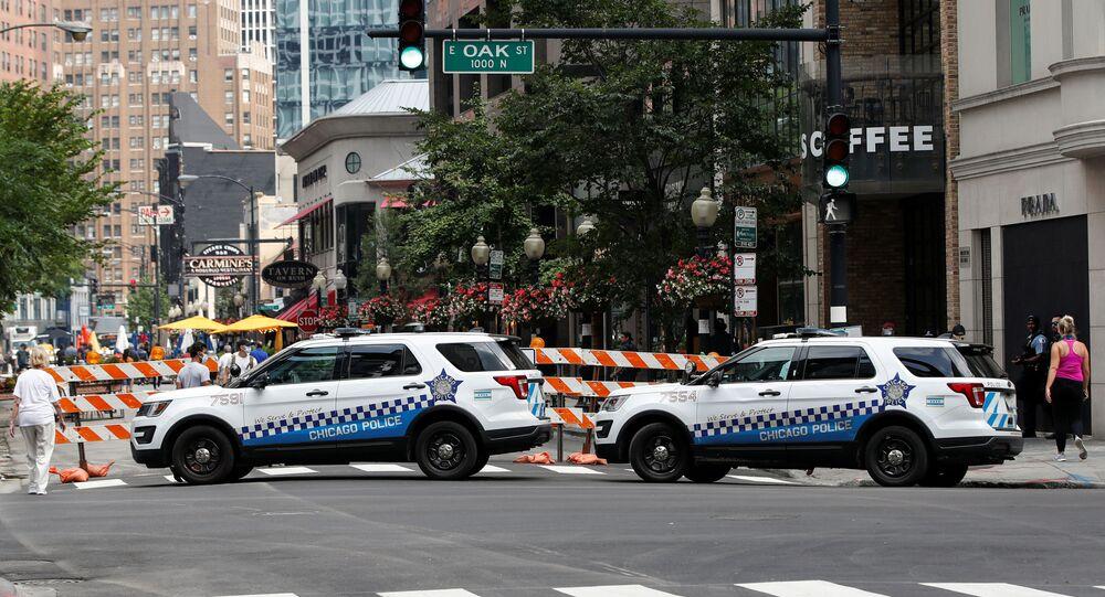 Chicago Police monitors Gold Coast area in Chicago, Illinois, U.S. August 10, 2020