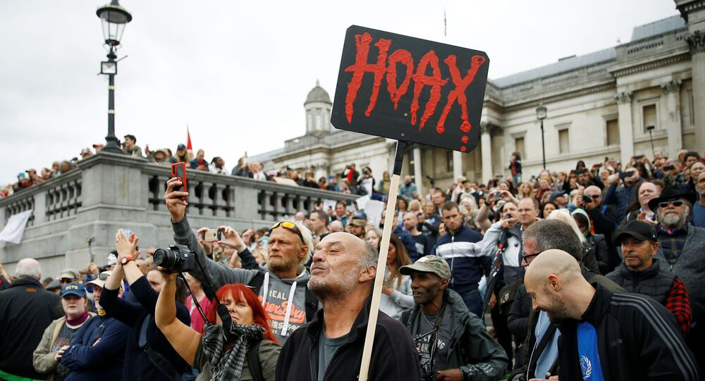 Protesters demonstrate against the lockdown and use of face masks in Trafalgar Square, amid the coronavirus disease (COVID-19) outbreak, in London, Britain, August 29, 2020.