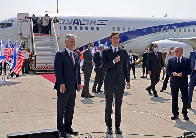 Senior U.S. Presidential Adviser Jared Kushner speaks next to U.S. National Security Adviser Robert O'Brien ahead of boarding the El Al's flight LY971, which will carry an Israeli-American delegation from Tel Aviv to Abu Dhabi at Ben Gurion Airport, near Tel Aviv, Israel August 31, 2020