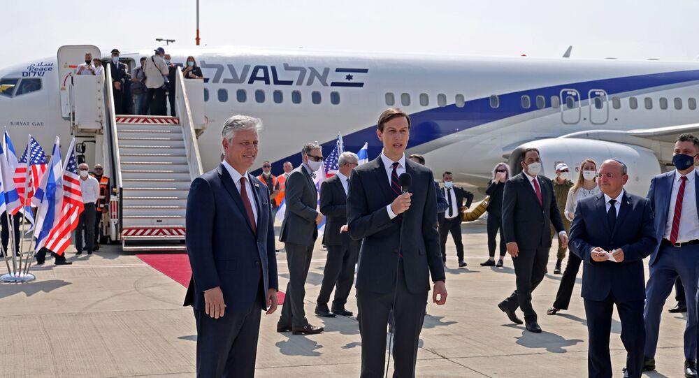 Senior U.S. Presidential Adviser Jared Kushner speaks next to U.S. National Security Adviser Robert O'Brien ahead of boarding the El Al's flight LY971, which will carry an Israeli-American delegation from Tel Aviv to Abu Dhabi at Ben Gurion Airport, near Tel Aviv, Israel August 31, 2020