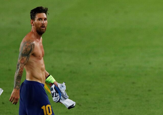 Barcelona's Lionel Messi after the match, as play resumes behind closed doors following the outbreak of the coronavirus disease (COVID-19) August 8, 2020