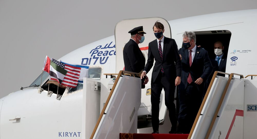 U.S. National Security Advisor Robert O'Brien and U.S. President's senior adviser Jared Kushner disembark a plane upon landing at Abu Dhabi International Airport, in Abu Dhabi, United Arab Emirates August 31, 2020