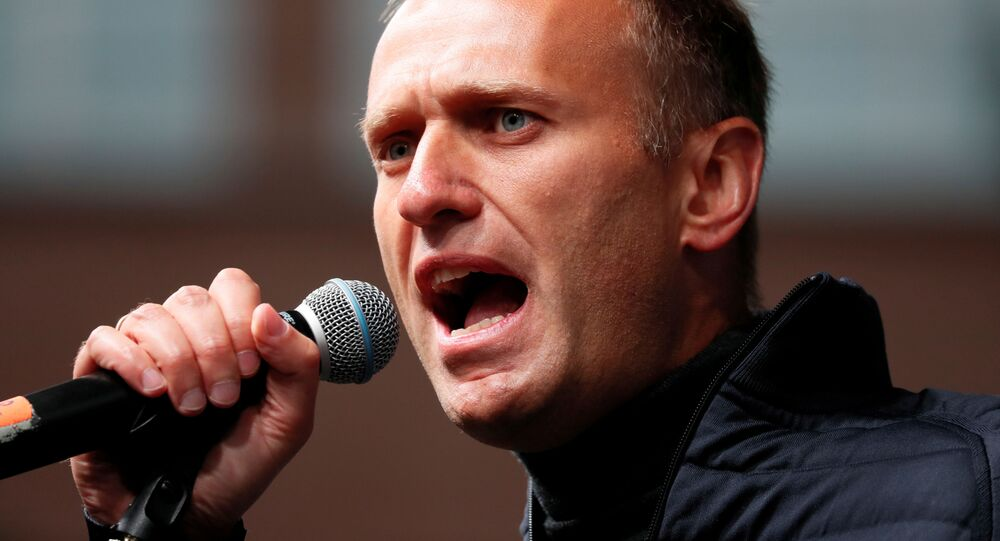 Russian opposition leader Alexei Navalny delivers a speech during a rally to demand the release of jailed protesters, who were detained during opposition demonstrations for fair elections, in Moscow, Russia, 29 September 2019