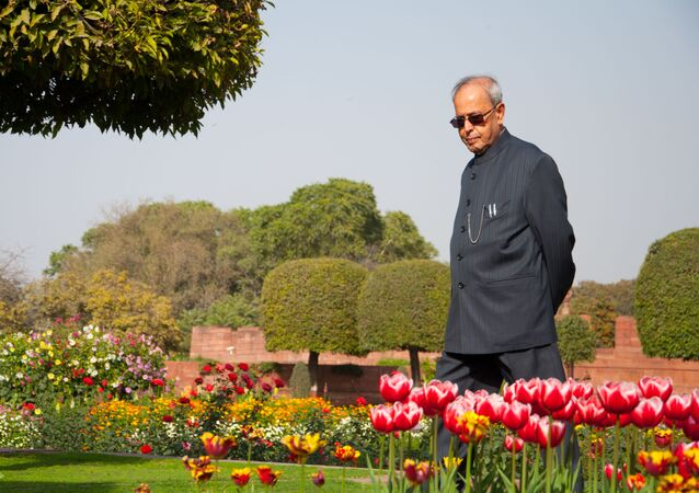 President Pranab Mukhejee in Mughal Garden, located inside the Presidential Palace in Delhi, in 2016