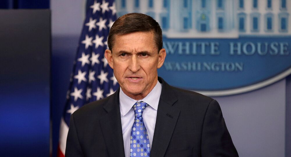 FILE PHOTO: Then national security adviser General Michael Flynn delivers a statement at a daily briefing at the White House in Washington, U.S., February 1, 2017.