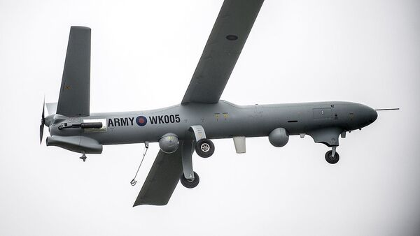 Watchkeeper is pictured during flight trials at Parc Aberporth in West Wales. - Sputnik International