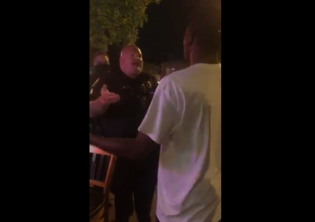 Columbia, SC: well-fed white cop ranting at length about the meaning of the word...  ...well, you can guess which one  29 August 2020 PM