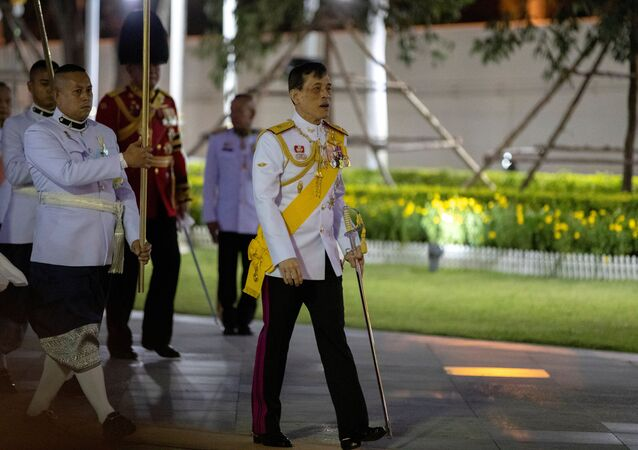 Thailand's King Maha Vajiralongkorn arrives to pay his respects at the King Rama I monument to honour the start of the Chakri dynasty's reign in Bangkok, Thailand April 6, 2020