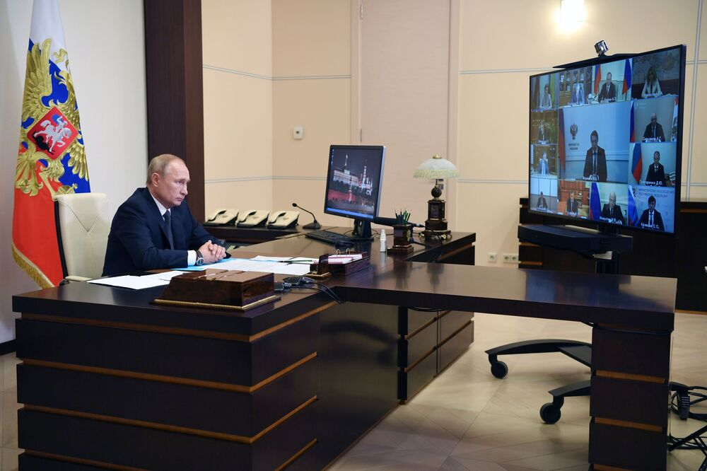 Russian President Vladimir Putin during an online conference with members of the cabinet on 11 August 2020