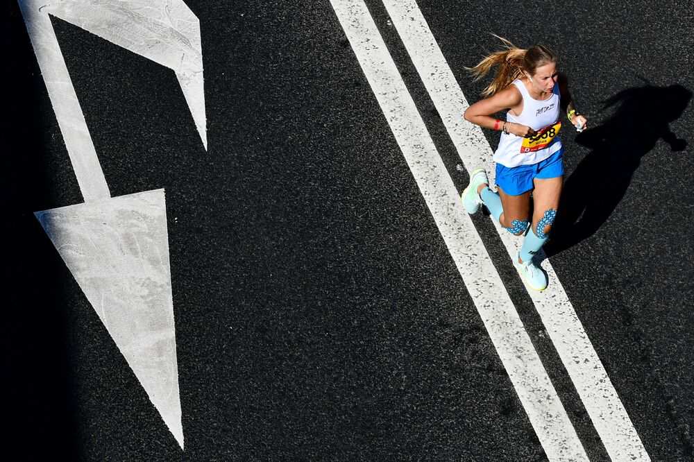 A woman takes part in a half-marathon in Moscow