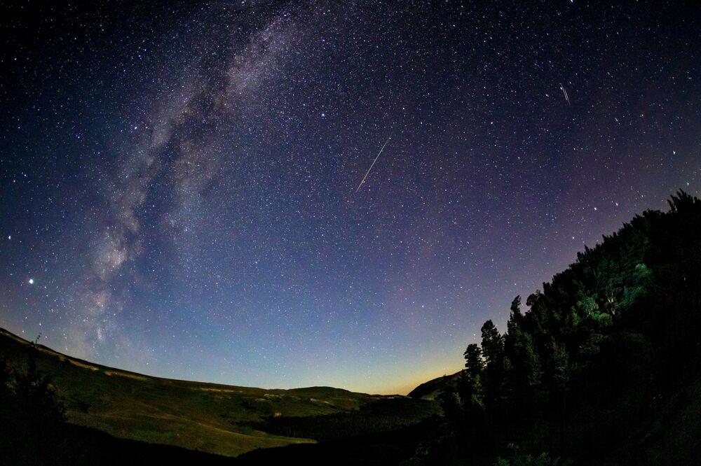 Starlit sky during the Perseid meteor shower observed in Russia's Krasnodar region.