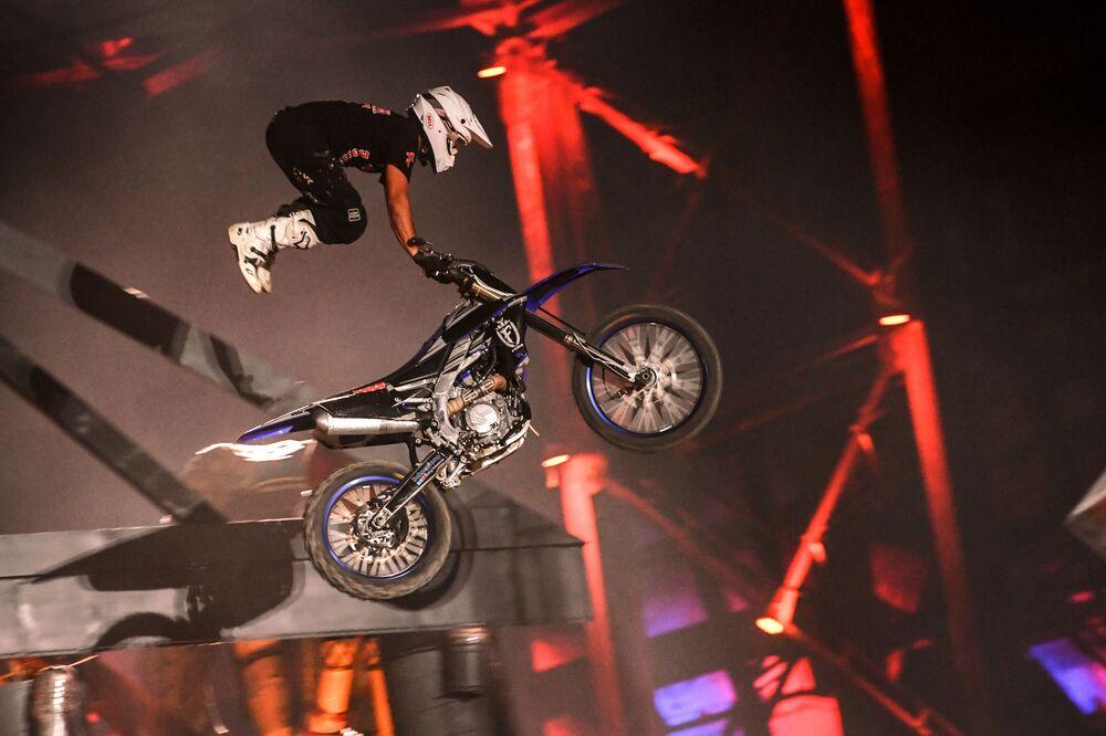 A stuntman at an international bike show outside Sevastopol
