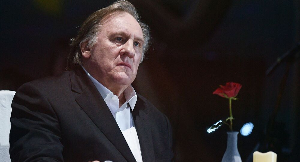 Actor Gerard Depardieu at a concert to mark Vladimir Vysotsky's 80th anniversary of birth at the Rossiya State Central Concert Hall in Luzhniki