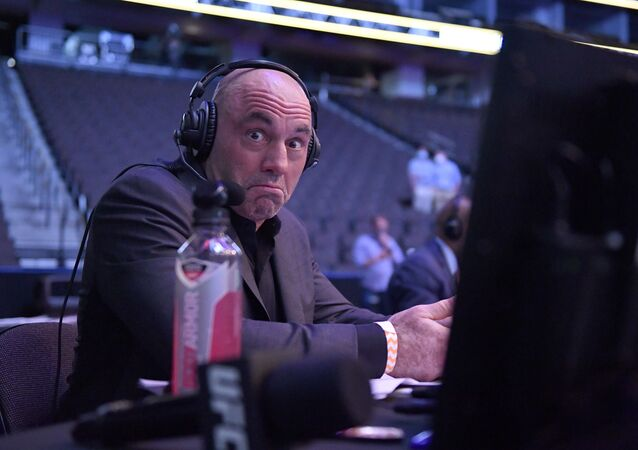 Announcer Joe Rogan reacts during UFC 249 at VyStar Veterans Memorial Arena on May 09, 2020 in Jacksonville, Florida