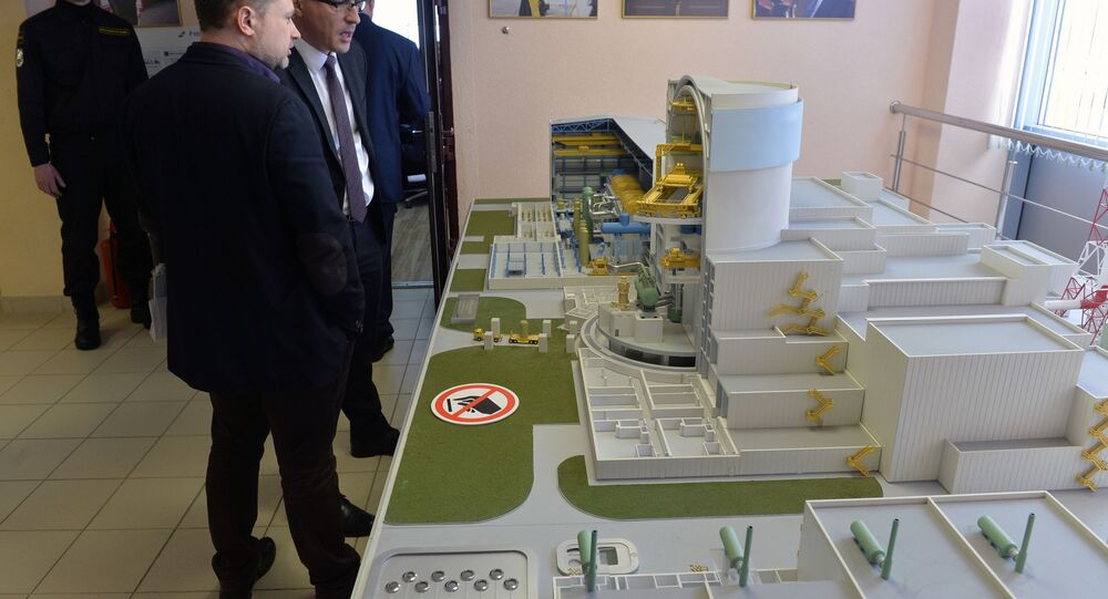 Scale model of the Ostrovets Nuclear Power Plant in Belarus.