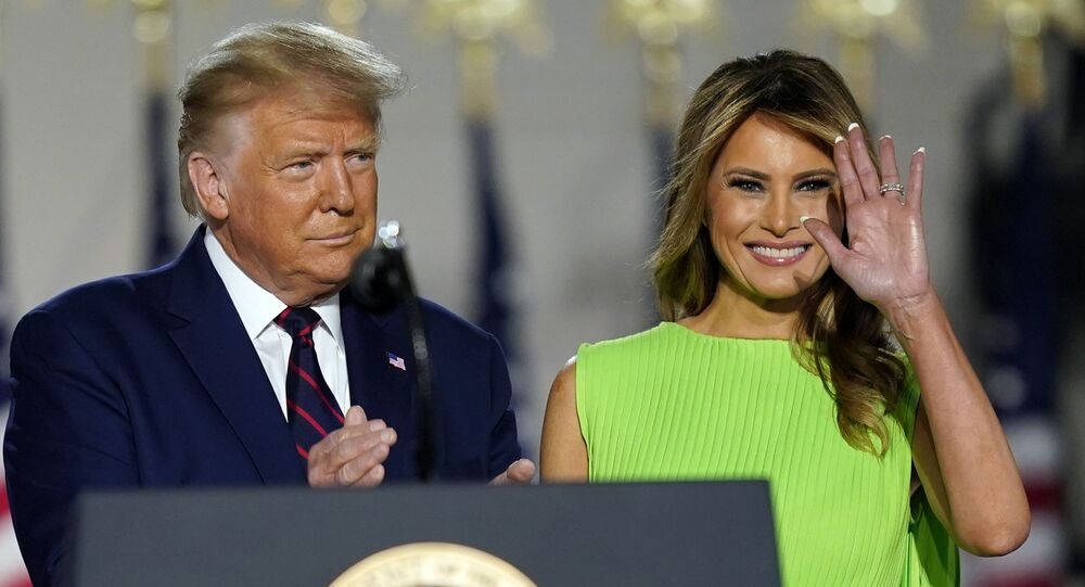 President Donald Trump and first lady Melania Trump arrive on South Lawn of the White House on the fourth day of the Republican National Convention, Thursday, Aug. 27, 2020, in Washington.