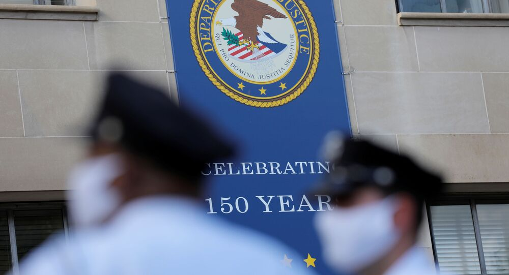 Signage is seen at the United States Department of Justice headquarters in Washington, D.C., U.S., August 29, 2020.