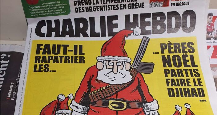 The front cover of Charlie Hebdo's Christmas 2019 edition, on sale in Paris.