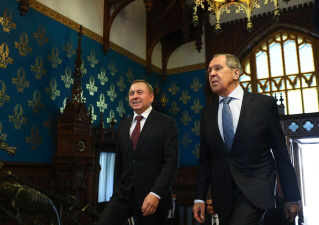 Russian Foreign Minister Sergei Lavrov meets with his Belarusian counterpart Vladimir Makei in Moscow on September 2, 2020.
