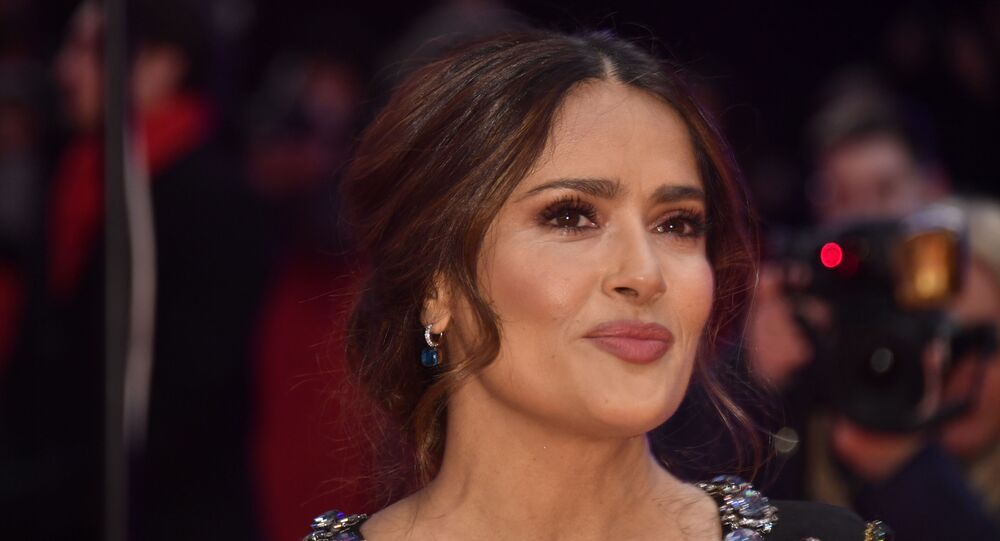 Mexican-US actress Salma Hayek poses on the red carpet upon arrival for the premiere of the film The Roads Not Taken screened in competition on February 26, 2020 at the 70th Berlinale film festival in Berlin.