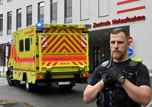 This file photo taken on August 22, 2020 shows a German army ambulance presumably carrying Russian opposition figure Alexei Navalny arriving to Berlin's Charite hospital, where Navalny will be treated after his medical evacuation to Germany following a suspected poisoning.