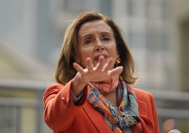 House Speaker Nancy Pelosi gestures while speaking about her visit to a hair salon during a news conference at the Mission Education Center Elementary School Wednesday, Sept. 2, 2020, in San Francisco