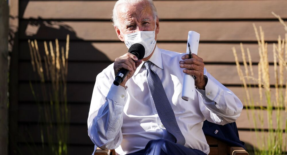 Democratic U.S. presidential nominee and former Vice President Joe Biden speaks about safely reopening schools amid the coronavirus disease (COVID-19) pandemic during a campaign stop in Wauwatosa, Wisconsin, U.S., September 3, 2020.