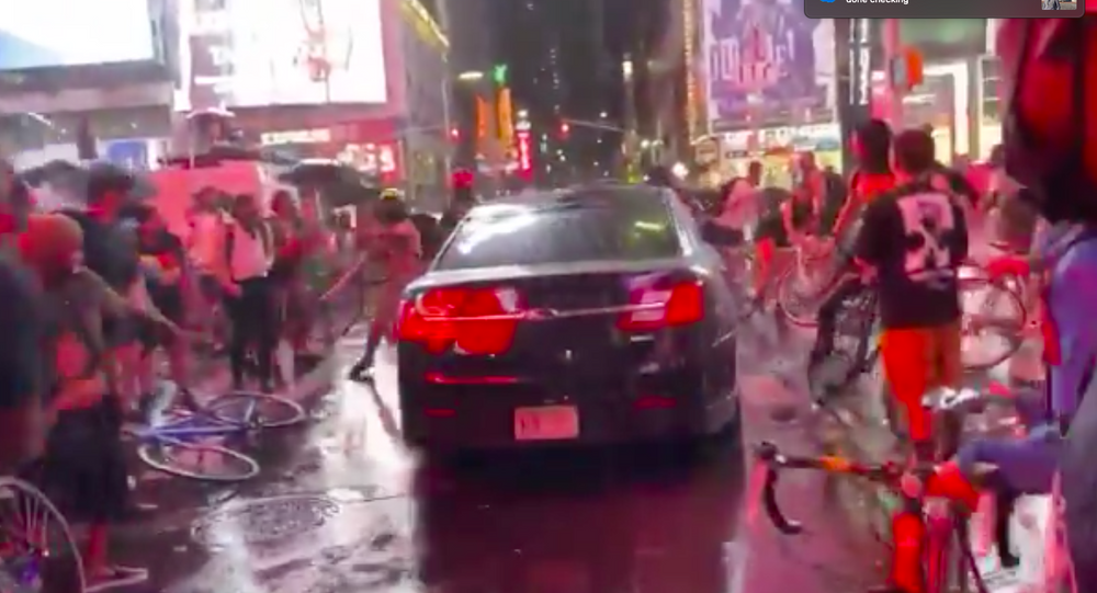 Video shows auto  driving into BLM protesters in NYC