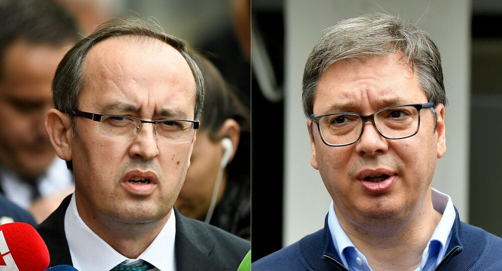 This combination of file photographs created on July 6, 2020 shows (L) newly elected Kosovo Prime Minister Avdullah Hoti as he speaks to the media in Pristina on June 3, 2020 and (R) Serbian President Aleksandar Vucic addressing the media outside a polling station in Belgrade on June 21, 2020. - The United States hopes to foster a breakthrough in talks between Balkan war foes Kosovo and Serbia as leaders of the two countries meet at the White House September 3 and September 4, 2020. More than two decades after their bloody ethnic conflict, Serbia refuses to recognize the independence that its former province Kosovo declared in 2008.