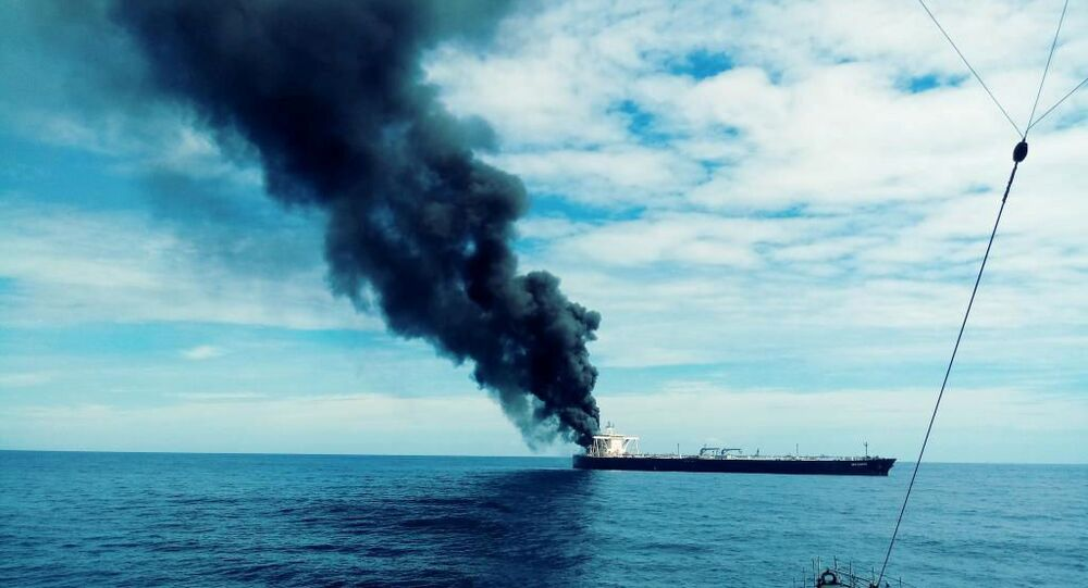 The New Diamond, a very large crude carrier (VLCC) chartered by Indian Oil Corp (IOC) that was carrying the equivalent of about 2 million barrels of oil, is seen after a fire broke out, off the east coast of Sri Lanka September 3, 2020.