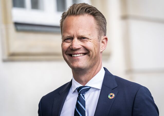 Danish Foreign Minister Jeppe Kofod arrives for a press conference in Eigtved's Warehouse in Copenhagen, on 21 July 2020, on the eve of US Secretary of State Mike Pompeo's visit to Copenhagen.