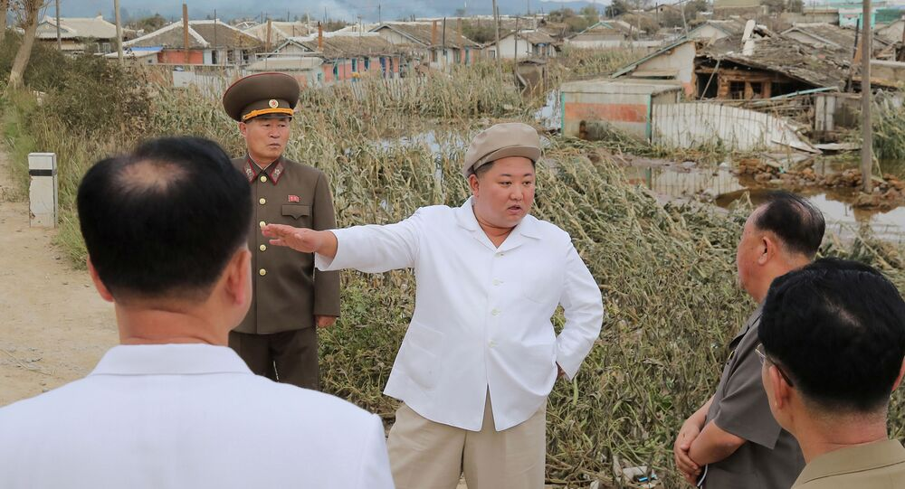 North Korea's leader Kim Jong Un inspects an unspecified area, after North Korea was affected by Typhoon Maysak in this image released September 5, 2020 by North Korea's Korean Central News Agency.