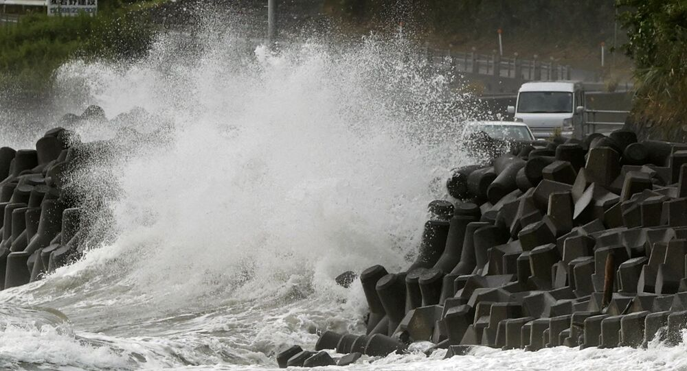High waves triggered by Typhoon Haishen crash against the coast in Kagoshima