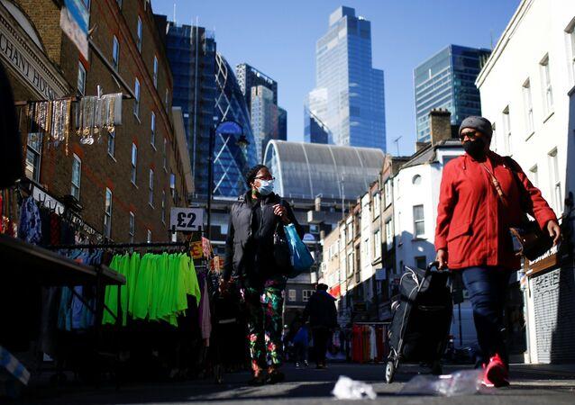 People visit the Petticoat Lane Market, amid the coronavirus disease (COVID-19) outbreak